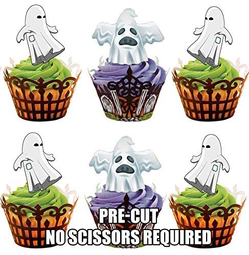 Halloween Blanc/fantôme effrayant de carte en Papier comestible prédécoupé pour décorations de gâteau avec support de fixation (Fantome Halloween)