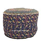 The Art Box - Housse de coussin de sol, Coton, Motif éléphant Bleu, Ottoman Pouf  Covers 22x14 Inch