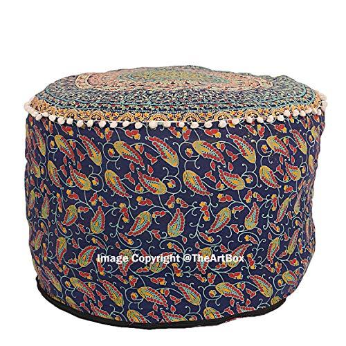 indiano Bohemien riempimento non incluso ricamato della sedia vintage pouf 21 solo copertura tradizionale vintage Indian pouf Floor//poggiapiedi Boemia rotondo cuscino da pavimento 100/% cotone Art Decor cuscino