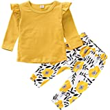 AmzBarley Toddler Baby Girl Clothes Letter Printed Ruffle Jumpsuit T-shirt Tops Polka Dot Floral Pant Set Infant Outfit