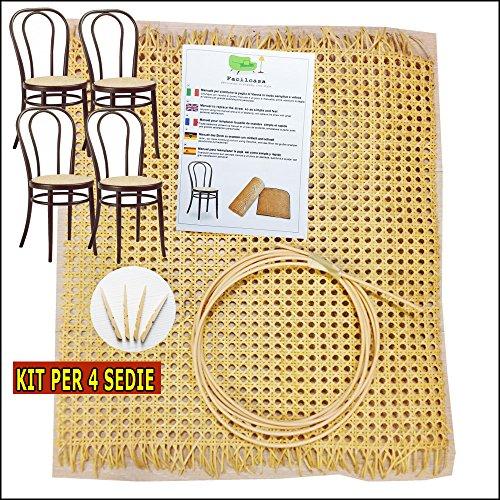Paglia di vienna per sedie e sgabelli | kit per riparazione - facilcasa - sostituzione, ricambio, retina, sedute con tessuto di giunco, manuale 5 lingue (cm. 180 x 46 - 4 sedute)