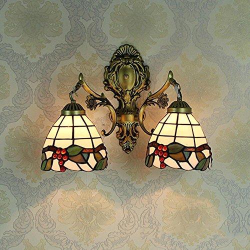 OOFAY Lichter Retro Mittelmeer Tiffany-Style 20 cm 40 cm E27 Eisen Runde LED Glasmalerei Wandleuchte Backlack Einzigen Licht Doppeltes Licht Schlafzimmer Licht Nachttischlampe, 40CM