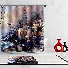 Beddingleer Cortina de Ducha Faro de Pintura al Óleo Impresión Impermeable y Resistente al Moho Secado Rápido Cortina de Ducha de baño con ganchos, naturaleza serie 180 x 180 cm