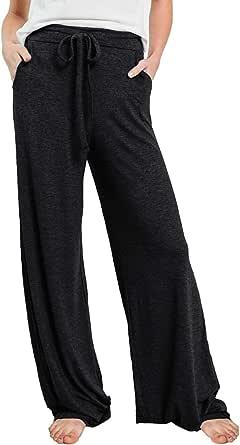 Reukree Womens Loose Fit Palazzo Trousers Wide Leg Cosy Trouser