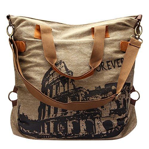 Très Chic Mailanda Canvas Shopper Schultertasche XXL Henkeltasche mit Colosseum 55x41x17cm (Chic Handtasche Vintage)