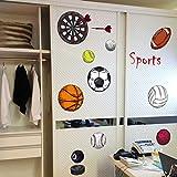 Autocollant Mural Bande Dessinée Sport Divers Balle Pour Les Chambres D'enfants Football Basketball Baseball Volleyball Fléchettes Décoratif