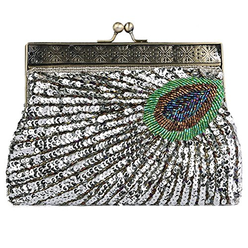 Peacock-stoff-handtaschen (Vintage Peacock Antique Perlen Pailletten Abend Handtasche Dinner Party Clutch Taschen Geldbörse. 22 X 14 X 4 Cm . Silver . One Size)