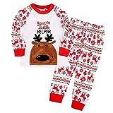 Backbuy Bébé Enfant Garçon Fille Long Blanc Pyjama Vêtements de Nuit Joyeux Noël Snatas Little Helper Wapiti (7-8 ans)