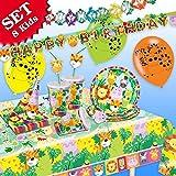 DSCHUNGEL-TIERE Geburtstag-Deko-Set, 61-teilig zum Kindergeburtstag Jungen und Mädchen und DSCHUNGEL-Motto-Party für 8 Kids