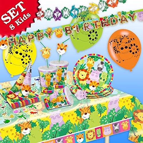 DSCHUNGEL-TIERE Geburtstag-Deko-Set, 61-teilig zum Kindergeburtstag Jungen und Mädchen und DSCHUNGEL-Motto-Party für 8 Kids (Party-motto Für Mädchen)
