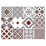 Adhésif carrelage - Sticker carreaux de ciment - Décoration - Red Dream (Gris, Rouge, Blanc) - 12 pièces (15 x 15 cm)