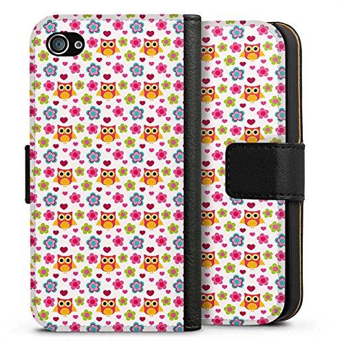 Apple iPhone X Silikon Hülle Case Schutzhülle Eulen Bunt Muster Sideflip Tasche schwarz