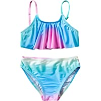 upxiang Costume da Bagno Bambina Ragazzine in Due Pezzi Senza Manica Arcobaleno Striscia Spiaggia Mare Piscina Costume…
