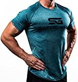 Satire Gym Fitness T-Shirt Herren - Funktionelle Sport Bekleidung - Geeignet Für Workout, Training - Slim Fit (L, Petrol meliert)