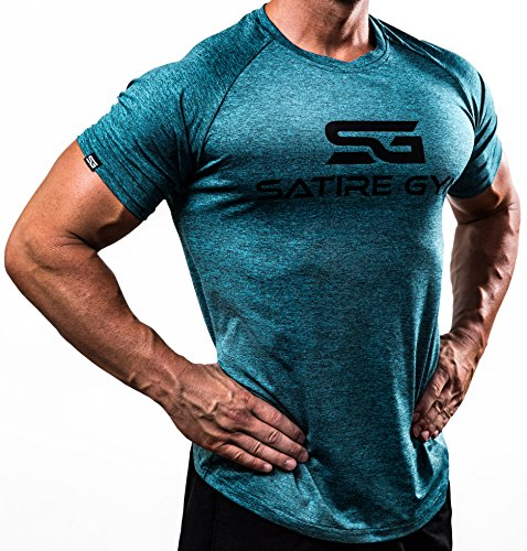 Fitness T-Shirt Herren - Funktionelle Sport Bekleidung - Geeignet Für Workout, Training - Slim Fit - Satire Gym (M, petrol meliert)