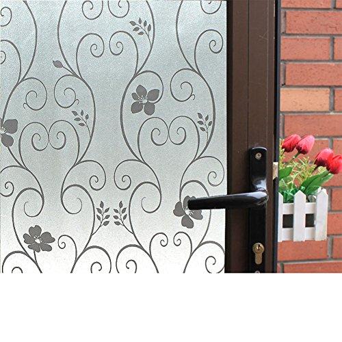 Pegatinas baño,Etiqueta engomada no adhesivo electrostático cristal película helada ventana dormitorio ventana papel aislante hierro forjado ventana-H 75x100cm(30x39inch)