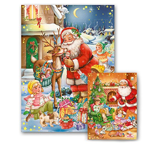 Weihnachtsmotiv Klassik Adventskalender mit Schokolade, 1er Pack (1 x 75g)