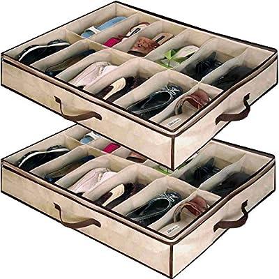 Babz 2 x 12 PAIR Underbed Under Bed Shoes Storage Space Saving Shoe Organizer Bag Box
