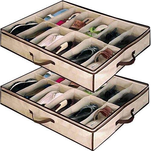 Babz 2x Aufbewahrungseinheiten für je 12Paar Schuhe, Unterbettkommode Originalverpackung