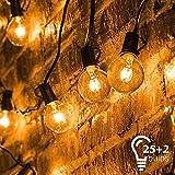 Catena di Lampadine, Mture Catena Luminosa Lampadina con 25 G40 Bulbi Bianca Calda, Luci Della Stringa Decorative Interna ed Esterna Perfetto per Festa, Matrimonio, Giardino, Natale, Halloween