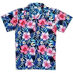 Virgin Crafts Classic Hawaiian Camisa para Hombre Button Town Manga Corta Aloha - - XL|Pecho :132 cm