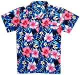 Virgin Crafts Classic Hawaiian Camisa para Hombre Button Town Manga Corta Aloha - - XL Pecho :132 cm