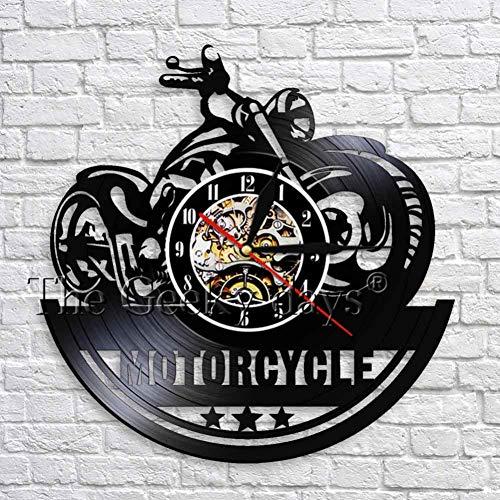 TIANZly Klassische Motorrad 3D Wanduhr mit LED Beleuchtung Garage Zeichen Motorrad Vintage Schallplatte Uhren Wanduhr Wohnkultur (Klassische Film-zeichen Für Halloween)
