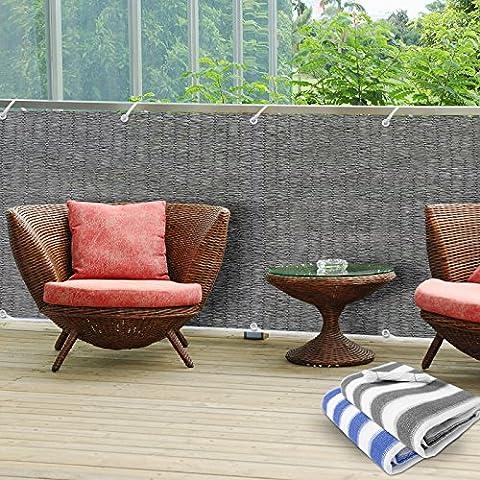 Brise-vue casa pura® en gris   idéal pour balcons, terrasses   taille 90x500cm, matière résistante aux