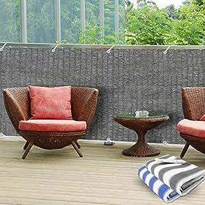 Brise-vue casa pura® en gris | idéal pour balcons, terrasses | taille 90x500cm, matière résistante aux intempéries