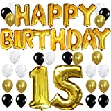 """KUNGYO 15TH Birthday Party Decorations Kit - Happy Birthday Balloon Banner, Number """"15"""" Balloon Mylar Foil, Black Gold White Latex Ballon, Perfect 15 Years Old Party Supplies"""