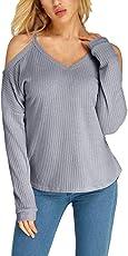 MEIbax Damen V-Ausschnitt Tops Langarm Cold Shoulder T-Shirt Casual Blusen Pullover