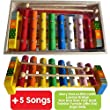 Childrens Wooden Musical Instrument - Xylophone - presented in wooden box and Song Sheets with 5 tunes