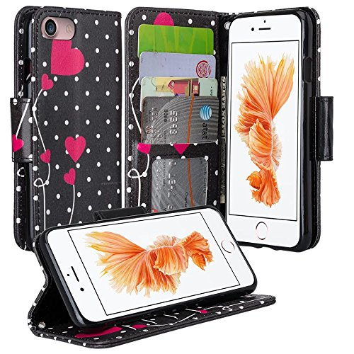 Galaxy iPhone 7 Case, Apple iPhone 7 Wallet Case, Wrist Strap Flip Folio [Kickstand Feature] Pu Leather Wallet Case with ID&Credit Card Slot For iPhone 7, (Polka Dot Hearts)