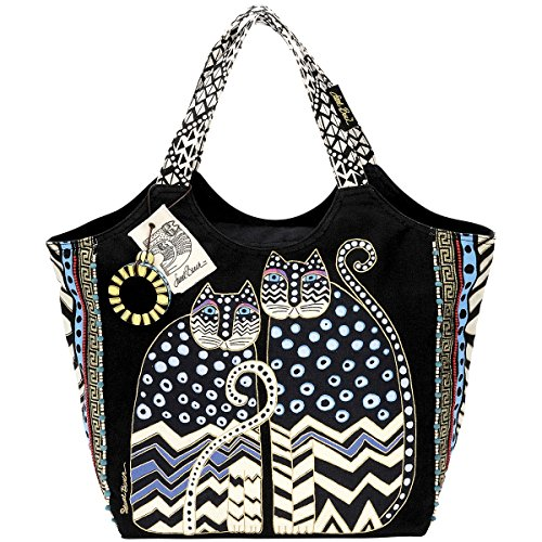 laurel-burch-19-x-8-1-2-x-12-1-2-inch-spotted-cats-large-scoop-tote-zipper-top