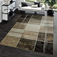 Modern Rug with Check Square Design for the Living Room Brown Beige Cream by T&T Design