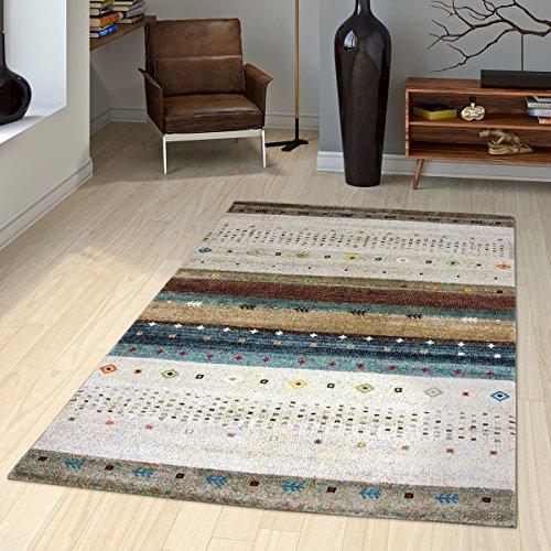 T&t design tappeto gabbeh loribaft nomadi motivo classico beige crema colorato mélange, größe:120x170 cm