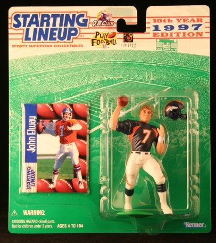 John Elway/Denver Broncos 1997NFL Starting Lineup Aktion steht & Exclusive NFL Collector Trading Card Broncos Football Cards