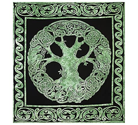 Weber Keltischer Baum des Lebens Tapisserie Decke Baumwolle Grüner Baum des Lebens Tapisserie Gut Glück Dorms Psychedelic Hippie Zeitgenössische Leinwand Wand Hanging Kunst Ultimate Tapestry Bohemian Decor