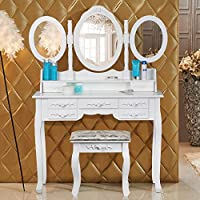 Popamazing Shabby Chic White Dressing Table with 3 Oval Mirror and Stool Bedroom Sets 7 Storage Drawers Make Up Desk