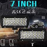 TUINCYN 17,8cm LED lavoro luce bar 72W luci spot a tre file di lavoro impermeabile 7200LM luci di guida per camion auto fuoristrada ATV SUV Jeep barca (confezione da 4)