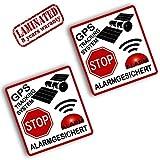Skino 2 Stück Vinyl Aufkleber Autoaufkleber Stickers GPS Tracking System Stop Alarm Alarmanlage Alarmgesichert Auto Motorrad Fahrrad Tuning B 113