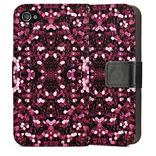 Apple iPhone 5s Housse Étui Protection Coque Paillettes Motif Motif Sideflip Sac