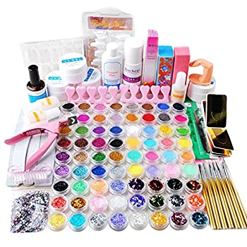 Fashion Gallery Nail Art 72pc Uv Gel Farbgel Cleanser Plus Acryl Puder Glitter Uv Gel Nail Set Nageldesign Anfängerset Nagelset Nagelgel Starterset 0