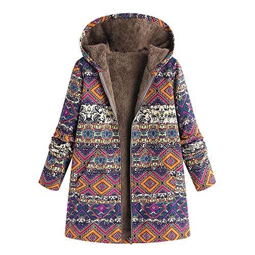 Vovotrade ✿ Inverno 2018 Outwear Caldo delle Donne Felpa con Stampa Geometrica Tasche Vintage Oversize Coats