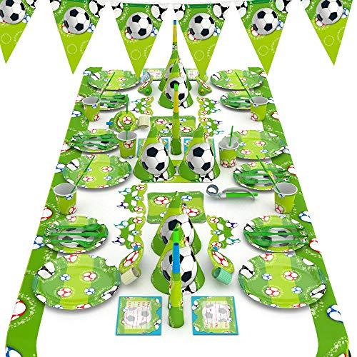 ATNKE Theme Party Supplies PapiergeschirrsetService 6 Gast für Geburtstag und Hochzeit,Einweg- Kind ergeburtstag Dekorationen und Spielzeug Fußball Weltmeisterschaft