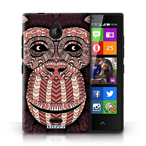 Kobalt® Imprimé Etui / Coque pour Nokia X2 Dual Sim / Loup-Mono conception / Série Motif Animaux Aztec Singe-Rouge