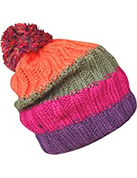 Men's Soft Chunky Knitted Stripy Slouch Winter Beanie Bobble Hat