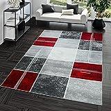 Tapis Abordable Carreau Design Moderne Tapis pour Salon Gris Rouge Super Prix,...