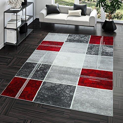 Teppich Günstig Karo Design Modern Wohnzimmerteppich Grau Rot Top Preis, Größe:160x220 cm