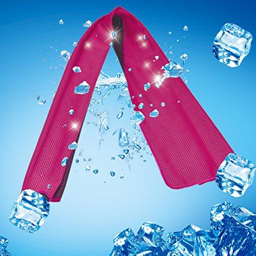 KAKOO 4 Pcs Serviette de Refroidissement, Serviettes de Sport en Microfibre Serviette de Fraicheur Instantanée pour Gym Yoga Cyclisme Randonnée Camping Course à Pied